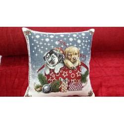 Vánoční polštář psi